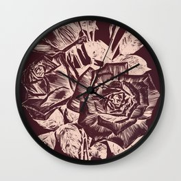 Burgundy in Rose Gold Wall Clock
