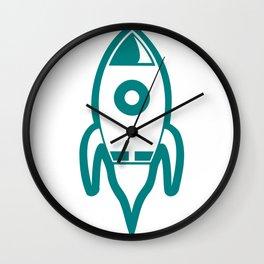 Blue Rocket Blastoff Clipart Wall Clock