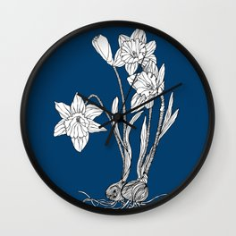 Daffodils on Midnight Blue Background Wall Clock