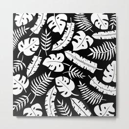 Tropical Leaves - Black & White Metal Print