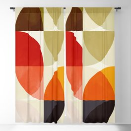 mid century color geometry shapes Blackout Curtain