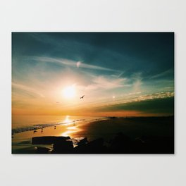 Winter Ocean Sunset Canvas Print