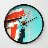 skyline Wall Clocks featuring Skyline by Rafael Galue