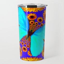 Turquoise Butterflies Golden Sunflowers Blue Abstract Travel Mug
