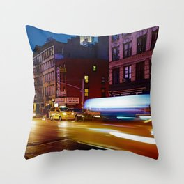 Taxi's Whizzing By Throw Pillow