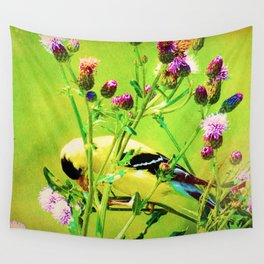 Goldfinch Yellow Bird Purple Flowers A101 Wall Tapestry