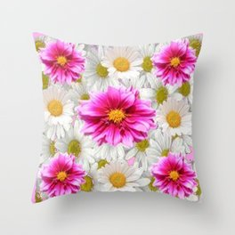 PINK DAHLIAS WHITE DAISIES FLORALS Throw Pillow