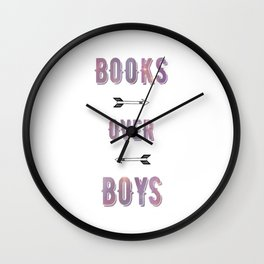 BOOKS OVER BOYS Wall Clock