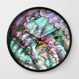 Glowing Cotton Candy Pink & Green Abalone Mother of Pearl Wall Clock