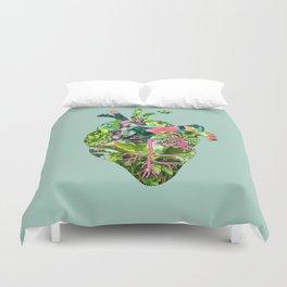 Botanical Heart Mint Duvet Cover