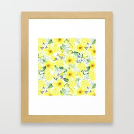 watercolor pattern yellow roses Framed Art Print