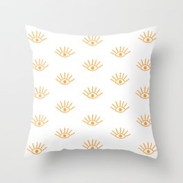 Light Orange Evil Eye Pattern Throw Pillow