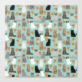 Cats with Pizza slices cheesy food funny cat lover gifts by pet friendly pet portraits Canvas Print
