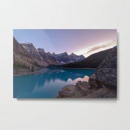 MORAINE LAKE SUNSET - BANFF NATIONAL PARK CANADA - LANDSCAPE PHOTOGRAPHY PRINT Metal Print