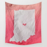 tote bag Wall Tapestries featuring Indianapolis Love Pink Ombre (Bag Art) by Aries Art