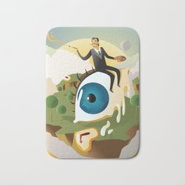 great surrealism painter on big floating eye in island with clocks Bath Mat