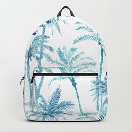 Watercolor Blue Palm Trees Backpack