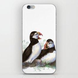 Watercolor Puffin Bird Couple iPhone Skin
