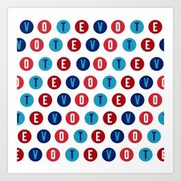 Vote 2020 pattern - red white and blue voter design Art Print