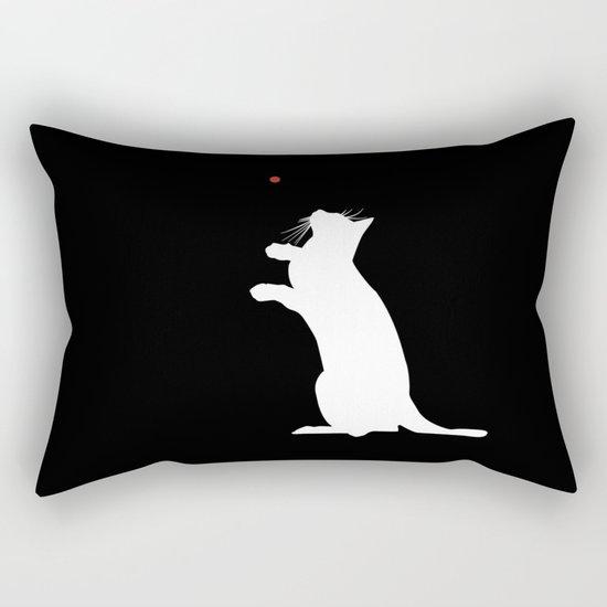 Cat and Laser Cute Minimalistic Animal Portrait Rectangular Pillow