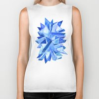 geode Biker Tanks featuring Sapphire Watercolor Facets by Cat Coquillette