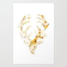 Mr Stag Orange Flowers Art Print