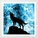 Howling Winter Wolf snowy blue smoke by pldesign