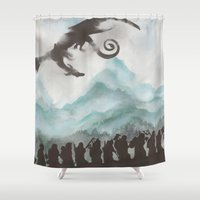 thorin Shower Curtains featuring The Desolation of Smaug by JadeJonesArt