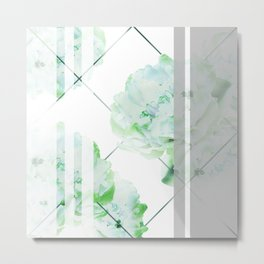 Abstract Geometric Lines Green Peonies Flowers Design Metal Print