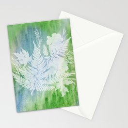 Cosmos Ferns Maples Blue Green Stationery Cards