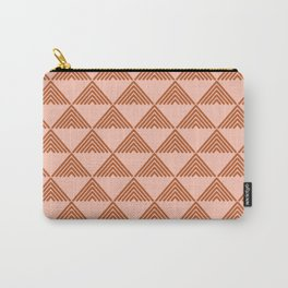 Triangular Lines in Terracotta and Blush Carry-All Pouch
