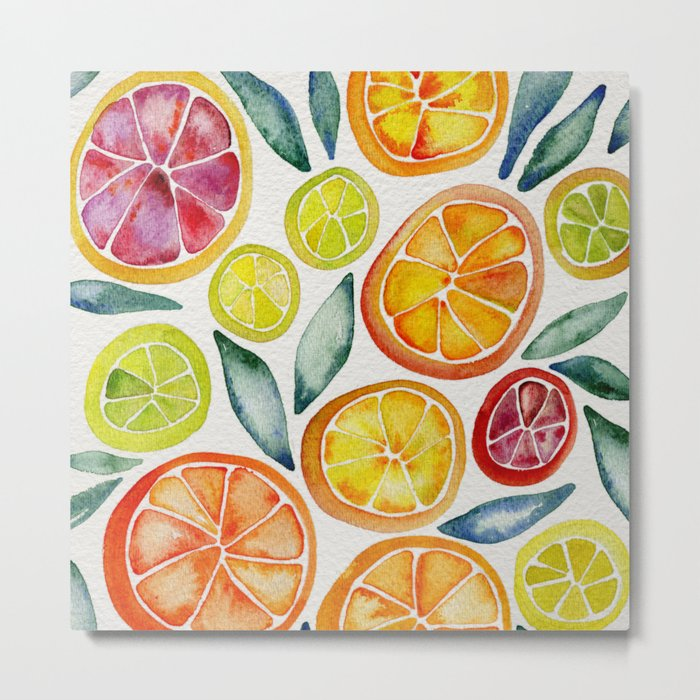 Sliced Citrus Watercolor Metal Print - kitchen square metal wall
