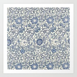 William Morris Navy Blue Botanical Pattern 6 Art Print