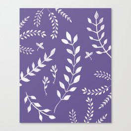 Ultra Violet Leaves Pattern #2 #drawing #decor #art #society6 Canvas Print