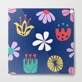 Nordic Floral in Mod Rainbow + Navy Blue Metal Print