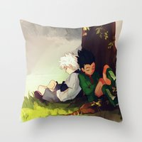 viria Throw Pillows featuring Gon and Killua by viria