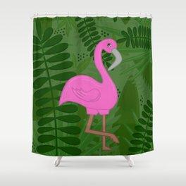 Flamingo Leaves Shower Curtain