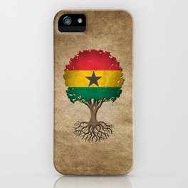 Vintage Tree of Life with Flag of Ghana iPhone Case