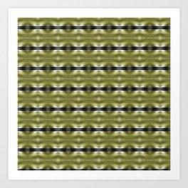 Golden Greens Black Waves Nature Pattern Art Print