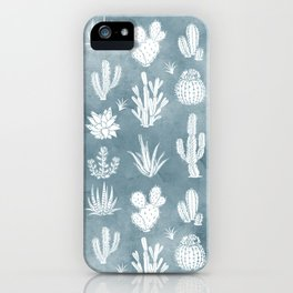 Cactus Pattern Dusty Blue Background iPhone Case