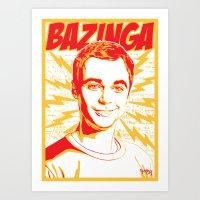 bazinga Art Prints featuring Bazinga! by rmbt24