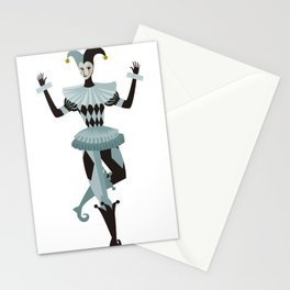 female harlequin dancing Stationery Cards