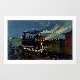 The Danger Signal: Train Scene, Currier & Ives Art Print