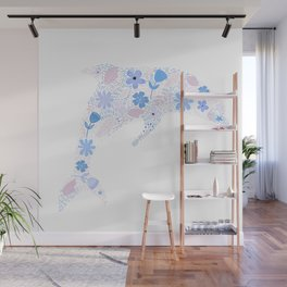 Floral composition in a Dolphin Shape Wall Mural