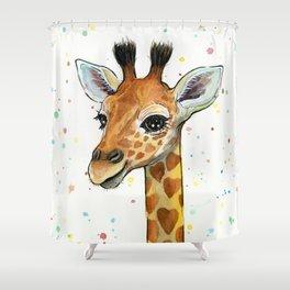 Baby-Giraffe-Nursery-Print-Watercolor-Animal-Portrait-Hearts Shower Curtain