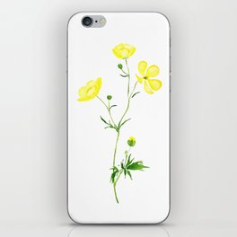 yellow buttercup flower watercolor iPhone Skin