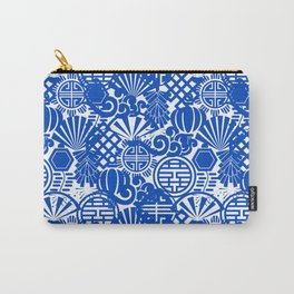 Chinese Symbols in Blue Porcelain Carry-All Pouch