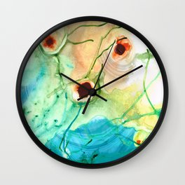 Blue And Yellow Abstract Art - Life Goes On - Sharon Cummings Wall Clock