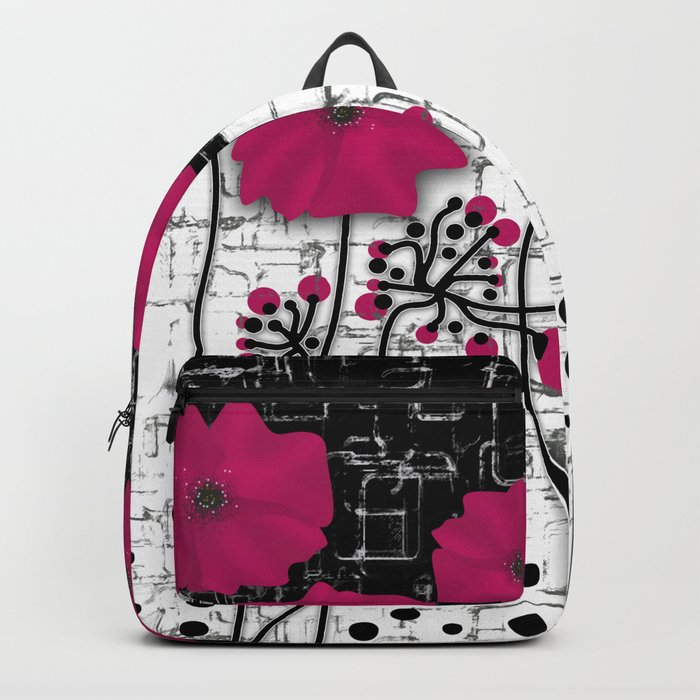 Crimson flowers on black and white background. Backpack