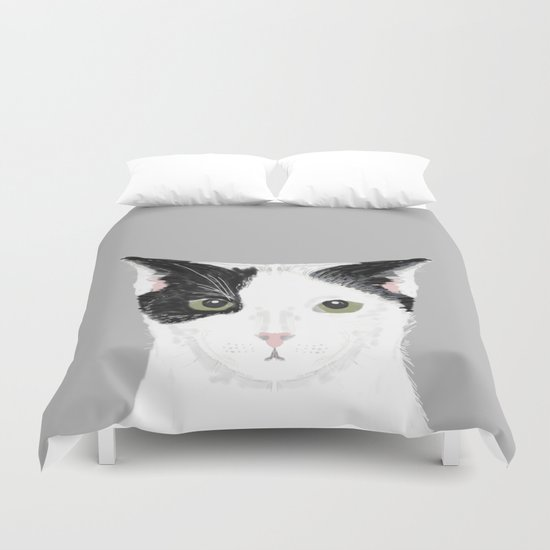 Manny - Black and white cute cat gift cat person cat lady funny cat meme pet portraits customizable  Duvet Cover